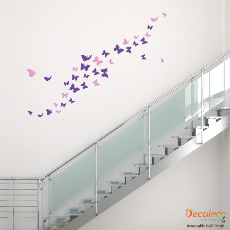 Flock of 36 butterflies for Butterfly wall mural stickers