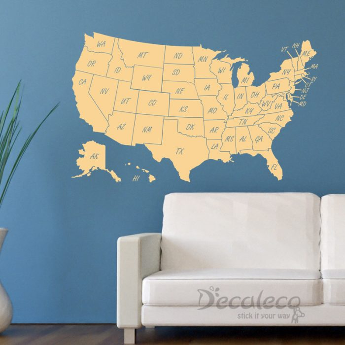 Fresh  DCL Large USA Map with states INT behind the scenes USA Map Wall Sticker