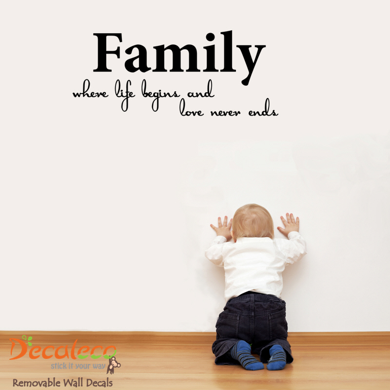 Family, where Life Begins Wall Quote