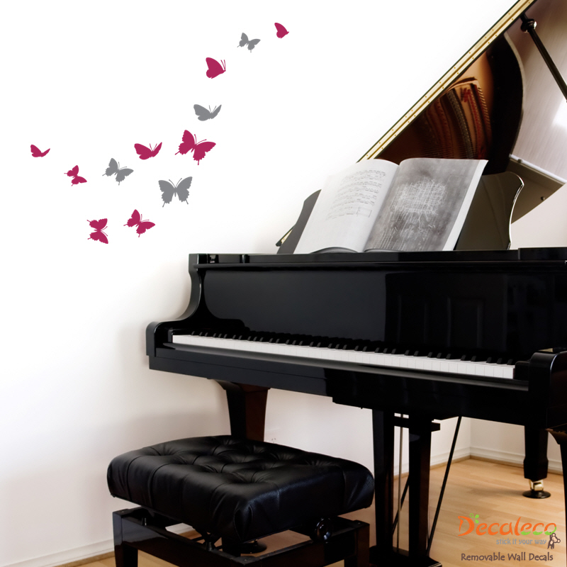 Flock of 12 Butterfly wall decal
