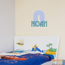 Sporty Monogram with Custom Kid's Name Wall Decals