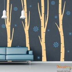 Set of 4 Birch Trees with Snowflakes Wall Decals