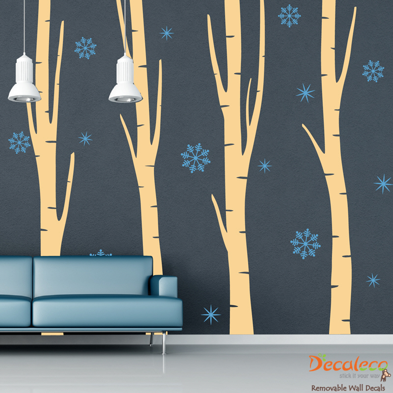 Set Of 4 Birch Trees With Snowflakes Wall Decals Part 50