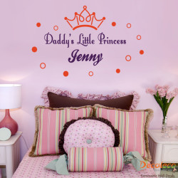 Daddy's Little Princess with Custom Name Wall Decal