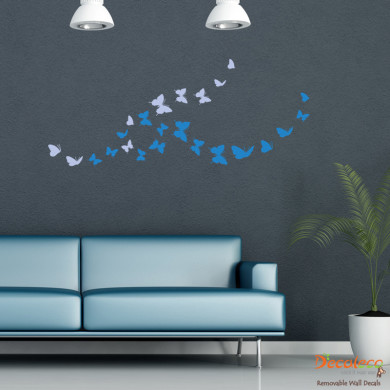 Unique Flock of Butterfly Wall Decal