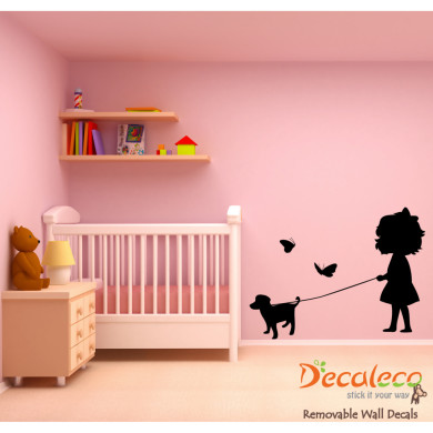 Marvelous Little Sophie and Her Puppy Butterfly Wall Decal
