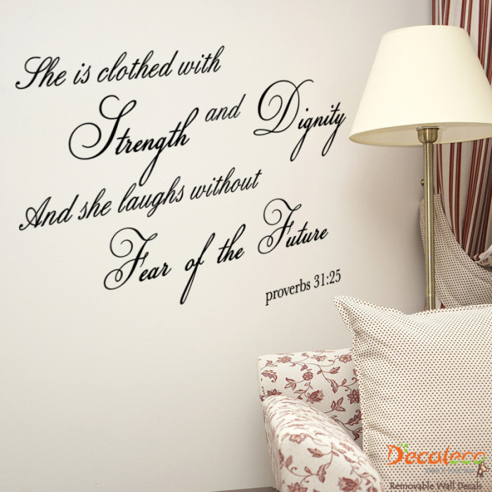 Dignity Wall: Strength & Dignity Bible Verse Wall Decals -Empowering Women