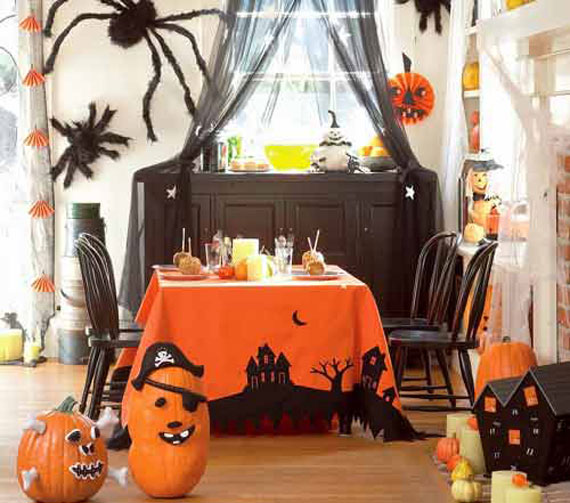 have fun in your kitchendining room with some decorated pumpkins and a few creepy spiders